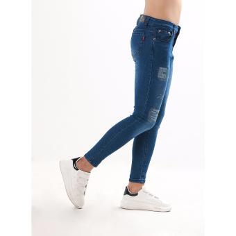 Women's Dark Blue Stitches Tattered Skinny Jeans - 4