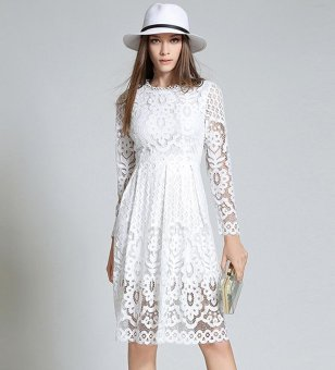 Womens Elegant boho Sexy Lace Casual Dress Long sleeves A-LineParty Dresses Vestido White - intl - 3