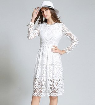 Womens Elegant boho Sexy Lace Casual Dress Long sleeves A-LineParty Dresses Vestido White - intl - 2