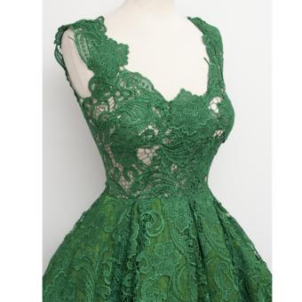 Women's Fashion Hollow Out Sleeveless Lace Cocktail PartyDress(Green) - intl - 4