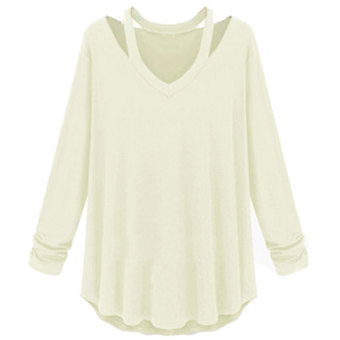 Womens Fashion Off Shoulder Long Sleeve V-Neck Loose Blouse White - Intl - 3