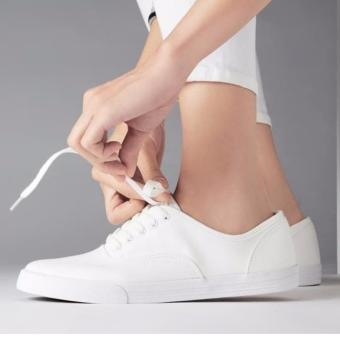 Women's Fashion Sneakers With Lace - White (Big Sizes Available) - 2