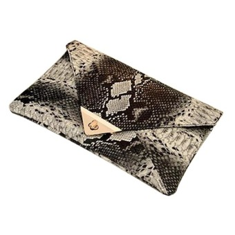Women's Faux Leather Snake Skin Clutch (Black) - picture 2