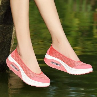 Women's Height Increasing Shoes Slip On Casual Sneaker One SlipLoafers AIWOQI(RED) - intl - 5