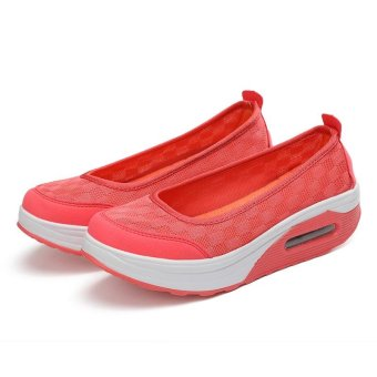Women's Height Increasing Shoes Slip On Casual Sneaker One SlipLoafers AIWOQI(RED) - intl - 2