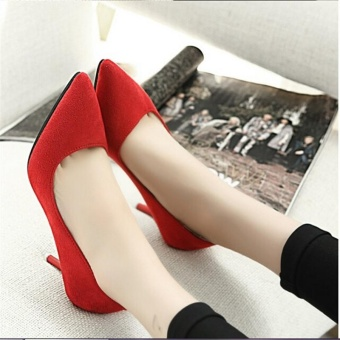 Women's High Heels Pointed Toe OL Stilettos Working Suede LadyFormal Shoes D203 Color Red - intl - 4