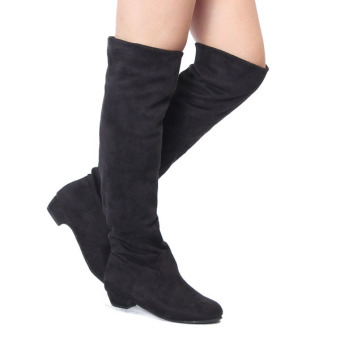Womens High Heels Suede Boots Thigh High Slouch Over The Knee Pull On Stilettos - Intl - 3