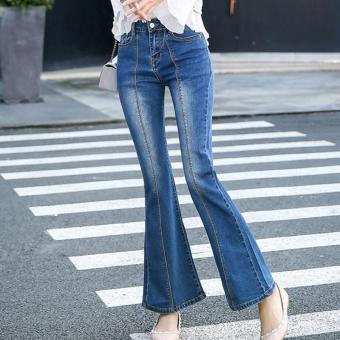 Women's High-waisted Regular Full Length Flare Pants Retro Jeans -intl