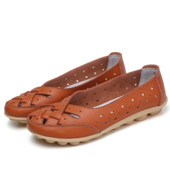 Women's Hollow Out Garden Casual Leather Flat Loafers Shoes - intl - 4