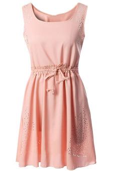 Women's Hollow Out Sleeveless Drawstring Waistband Dress Pink S