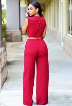Womens Jumpsuit Sexy V-neck Wide Leg Slim Casual Overalls(Red) - 3