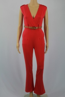 Womens Jumpsuit Sexy V-neck Wide Leg Slim Casual Overalls(Red) - 4