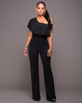 Women's Jumpsuits One Shoulder Solid Color Brief Design (Black) -intl - 2