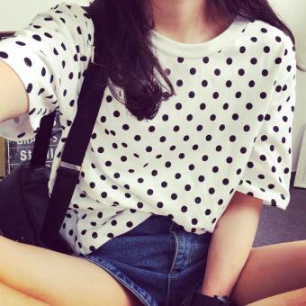 Womens Korean-style Casual Polka Dots Print Milk Fiber Short Sleeve T-Shirt Women Clothing Tops Blouse T-Shirts