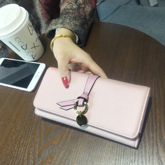 Womens Korean-style Trifold Wallet (Pink)