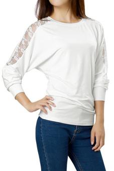 Women's Lace Crochet Batwing Sleeve Blouse White M