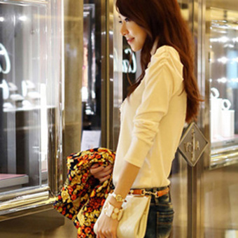 Women's Lace Long Sleeves Slim Tops (White) - picture 2