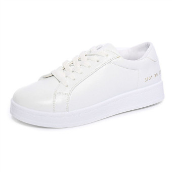 Women's Lace-up Shoes Flat Shoes Sneaker (White)(Intl) - 2