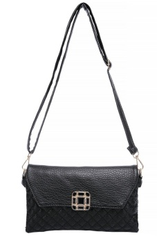 Women's Leather Sling Bag - Black