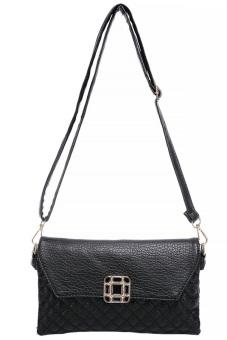 Women's Leather Sling Bag - Black