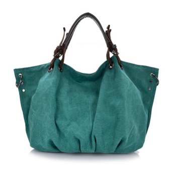 Women's Leisure Style Oversize Canvas Tote Handbags (Green)
