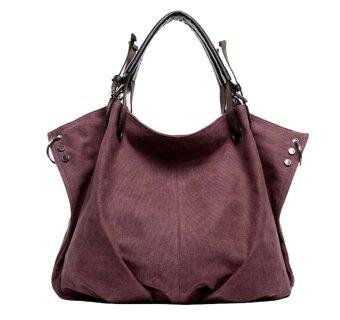 Women's Leisure Style Oversize Canvas Tote Handbags (Purple) - picture 2
