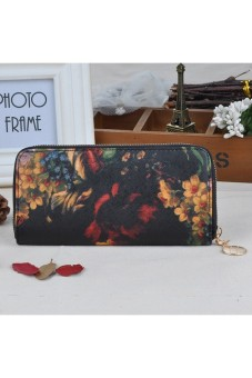 Women's Long s Oil Painting Retro Wallet Zipper PU Leather Clutch - picture 2