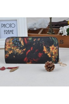 Women's Long s Oil Painting Retro Wallet Zipper PU Leather Clutch