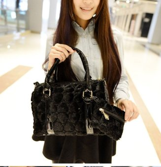 Women's Lovely Plush PU Leather Tote Bags Cross-body Bag (Black) - picture 2
