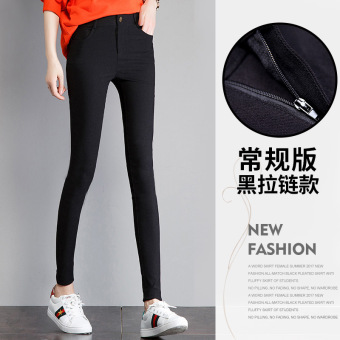 Womens New Style High Waist Fleece-lined Think Plus Size Stretch Skinny Pants Black (Regular version of black zip--black) Women Clothing Pants Leggings