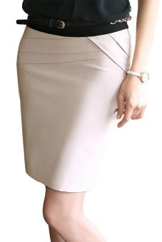 Women's OL Formal High Waist Skirts (Beige)