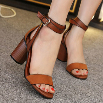 Womens Open Toe Square Heel Suede London Sandals with Buckle Brown - intl - 3