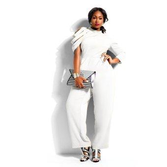 Women's Plus size Chiffon Personalized Sleeve Jumpsuits Siamesetrousers(White) - 2