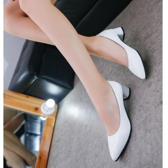 Women'S Shoes With Thick Heel Pu Leather Mid Heel Shoes(White) -intl - 5