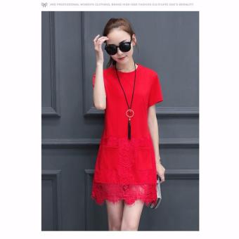 Women's Short Sleeve Casual Loose T-Shirt Dress(Red)