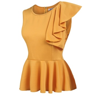 Women's Sleeveless One Shoulder Asymmetric Ruffles Slim Fit PeplumTop Yellow - intl - 2