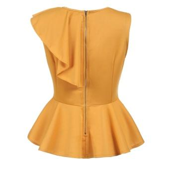 Women's Sleeveless One Shoulder Asymmetric Ruffles Slim Fit PeplumTop Yellow - intl - 3