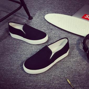 Women's Slip On Loafers Canvas Shoes - Black - 3