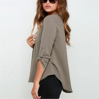 Women's Spring Summer Autumn Fashion Casual Plus Size Tops Lady'sV-neck Long Sleeve Loose Roll-up sleeve Blouse (Grey) - intl - 2