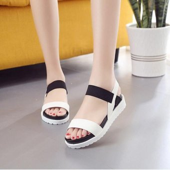 Women's Summer Mix Colors Casual Peep Toe Block Low-Heels SandalsLeather Shoes D182 Color White - intl