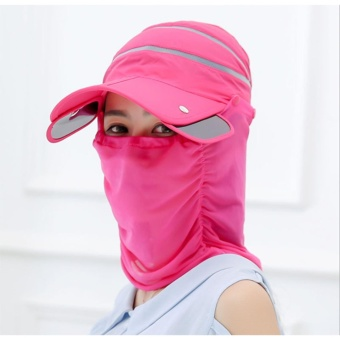 Womens Sun Hat Ladies Girls Outdoor Flodable Quick Dry Cap Anti-UV Sun Hat with Breathable Removeable Face Neck Protection Veil Perfect for Cycling Climbing Fishing Hiking Rose - intl