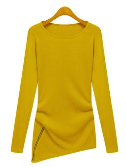 Women's T-Shirt Flexible Round Collar Long Sleeve Tops (Yellow)