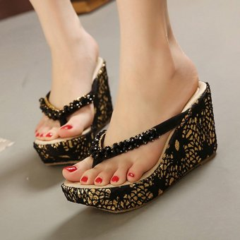 Womens Wedge PU Bohemian Sandals with Crystal Black - 3