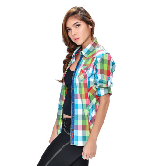 Wrangler Ladies' Checkered Long Sleeves Shirt (Lapis) - picture 2
