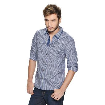 Wrangler Men's Checkered Long Sleeves Shirt (Ash Blue) - picture 3