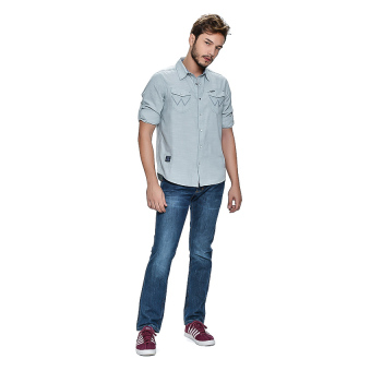Wrangler Men's Solid Long Sleeves Shirt (Mist Chambray)