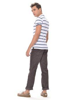 Image Detail Wrangler Men's Striped Polo Shirt (White) Full