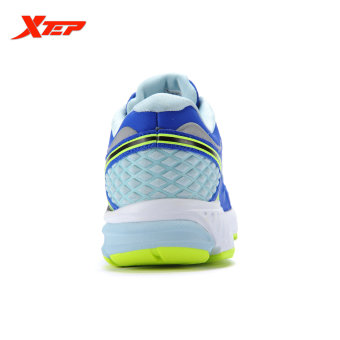 XTEP Brand Professional Running Shoes for Women Light Leather Running Sports Shoes Ladies Damping Athletic Sneaker (Blue) - 5