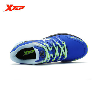 XTEP Brand Professional Running Shoes for Women Light Leather Running Sports Shoes Ladies Damping Athletic Sneaker (Blue) - 3