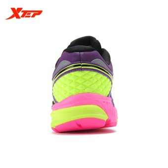 XTEP Brand Professional Running Shoes for Women Light Leather Running Sports Shoes Ladies Damping Athletic Sneaker (Purple) - 5